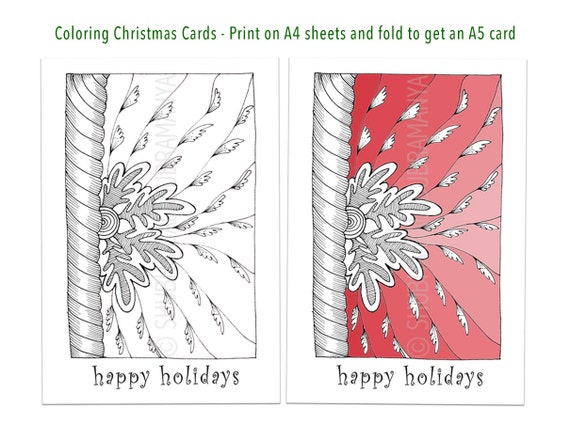Happy Holidays Printable Coloring Christmas Card DIY Holiday