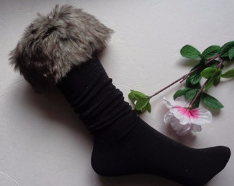 1 pair winter snow socks with synthetic fur boot socks