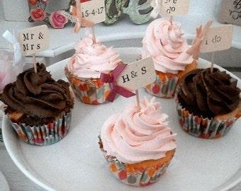 x10 Wedding Cupcake Picks/Flags, Food Decoration