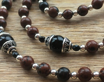 Confirmation Gift for Boy, Brecciated Jasper and Onyx Semi-Precious Gemstone Rosary, Men's Rosaries, First Communion Rosaries