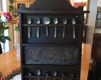 Vintage Wooden Spoon Rack, Handmade Spoon Rack