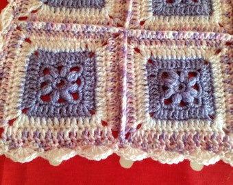Crochet Blanket - Baby blanket - Baby shower gift - Purple & White -Afghan Granny Square