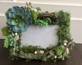 "Succlent Frame!! !!Wedding Frame/ Woodland Party/ fairy door/ Enchanted Forest/ Rustic /  Fairy Door/baby shower, nursery, 5x7""Tinkerbell"