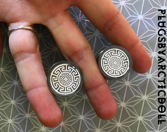 Pair of plugs 20mm aztec pattern labyrinth