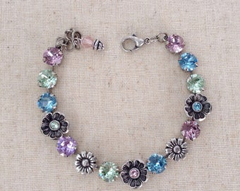 Swarovski crystal flower necklace, bracelet and earrings - blue, green and pale purple jewelry - springtime necklace - Mother's Day Gift