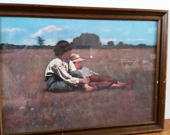 "Vintage Winslow Homer ""Boys in a Pasture"" Framed Picture"