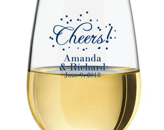 24 pcs Cheers Personalized 9 oz. Stemless Wine Glassware - PCHESC56