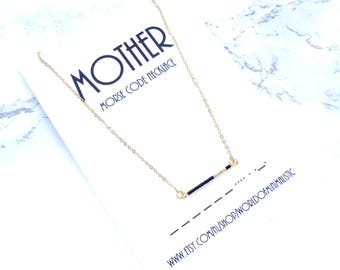 MOTHER morse code necklace, mothers day personalized gift, morse code jewelry, mother daughter gift, minimalist bar necklace
