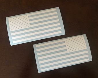 2x American Flag Vinyl Decal Set, Sticker, Car Truck Van Vehicle Laptop Wall, Merica