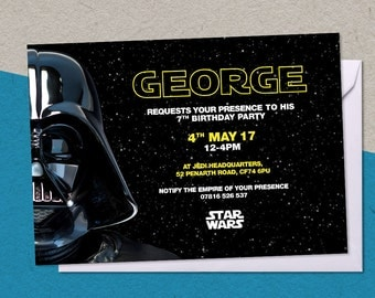 12 Printed Star Wars Darth Vader Personalised Birthday Party A6 Invitations with/without envelopes
