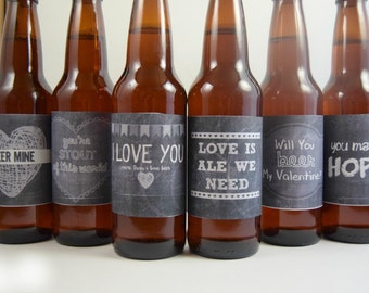 Valentines Day Chalkboard Beer Labels Printable