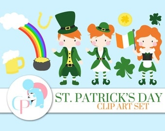 60% OFF SALE! St. Patrick's Day ClipArt Set - St Patricks Day ClipArt - Saint Patricks Day Clipart - Cute Leprechaun - Scrapbooking