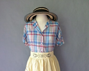 vintage light weight cotton plaid short sleeve blouse/shirt/top women's size S/M