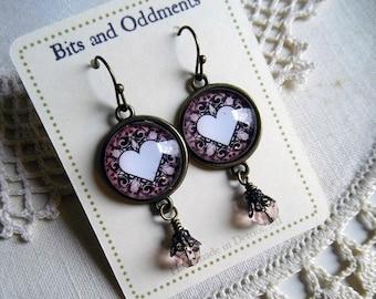 Elegant Lavender Valentines Day Heart Earrings