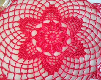 Crochet Red Doily Doilies Table cloth Lace doily Table cover Round tablecloth Home decor Table centerpiece