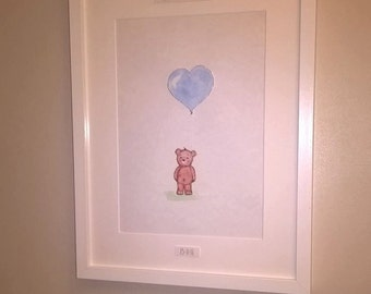 A4 baby bear nursery print holding balloon *unframed*