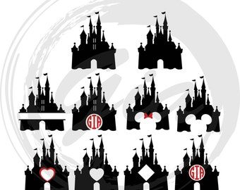 Disney Castle Monogram & Clipart SVG, princess castle svg, ready to cut files for Cricut, Silhouette etc, also in png, eps and DXF
