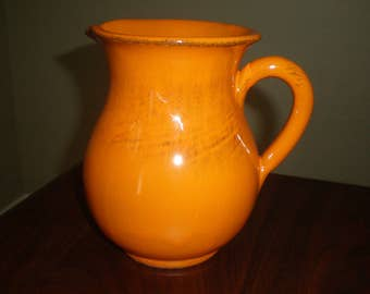 Italian Pottery Small Orange Pitcher Vintage