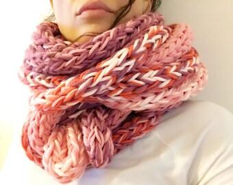 Extra soft pink-orange infinity scarf