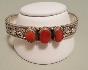 Red Coral Filigree Sterling Silver 3 Stone Cuff Bracelet - Larger Size - Fits up to 8 inch wrist