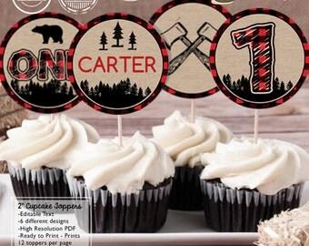 INSTANT DOWNLOAD - EDITABLE Lumberjack Birthday Cupcake Toppers - Lumberjack Party decorations