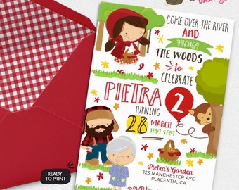 Little Red Riding Hood Birthday Party invitations DIY Fairy Tale printable invite woodland party