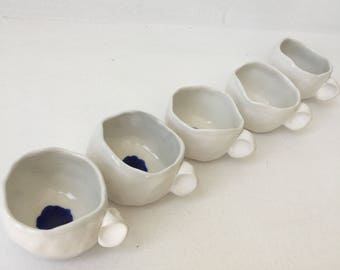 Set of five porcelaine espresso cups