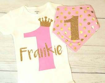 Girl first birthday outfit one year old girl 1st birthday girl clothes pink birthday princess number one birthday name outfit leg warmers