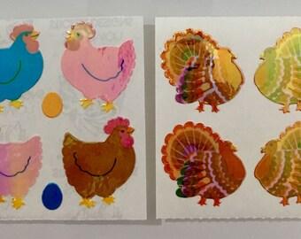 Vintage Pearl Sandylion Chicken and Turkey Stickers