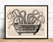 Octopus In Bathroom, Sister Brother Gift, Funny Kraken Art, Tentacles Print Gift, Bathroom Wall Decor, Funny Bathroom Art, Mom Gift Post 079