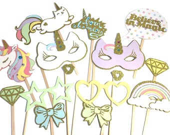 Photo Booth Props - Set of 15 Rainbow & Unicorn Party Props