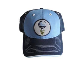 Navy and Light Blue Golf Theme Baseball Cap