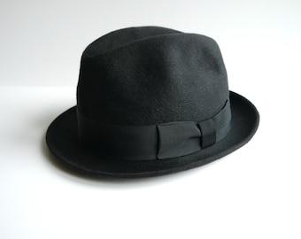 Vintage Men's Dark Gray Felt Hat Classic Style Caps Fedora