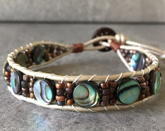 Beach Comer - Beaded Leather Wrap Bracelet with Abalone and Czech Glass Etched Beads