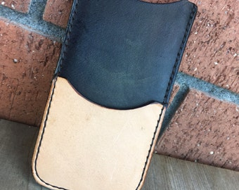 Two-Tone Leather iPhone SE Sleeve
