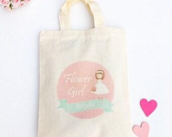 Pink Flower Girl Bag, Personalised Pink Flower Girl Gift, Pink Flower Girl Favour Bag, Pink Name Wedding Bag, Flower Girl Keepsake