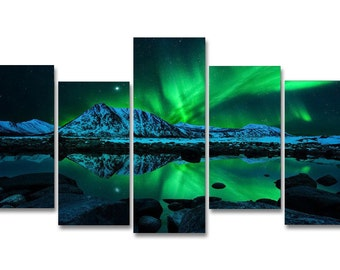 Northern Lights Aurora Borealis Framed Wall Art Hanging