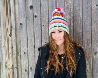 Multicolored crocheted Pom Pom hat
