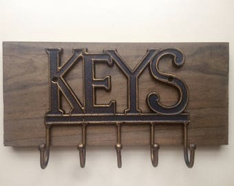 Rustic Cast Iron Key Hooks, Rustic Key Holder, Wall Mounted Key Rack, Antique Key Organizer, READY TO SHIP!