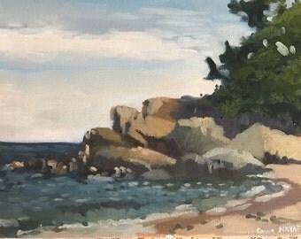 Beach seascape painting original art oil on canvas ocean figurative landscape christmas gift art