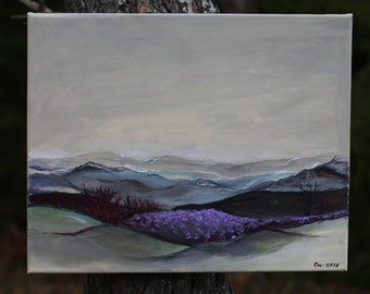 Original Landscape Painting Lavender Acrylic original artwork