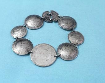 Vintage Silver Coin Bracelet, Australian Coin Bracelet, Handmade Bracelet Made of Coins, Sixpence, Three Pence, Shilling, Ships FREE! LJ-114