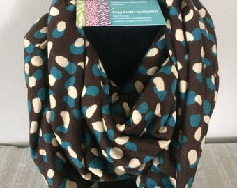 Infinity scarf - jersey knit cotton - lightweight for all seasons - gift for her - brown, cream and blue dots