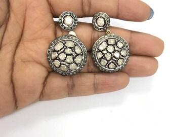 Polki Diamond Earrings , Uncut Diamond Earrings , Diamond daggling Earings , Polki Diamond Tops , Polki Diamond Jewelry