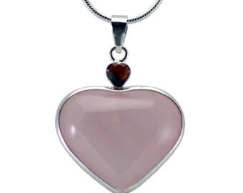 Heart Pink Rose Quartz Heart With Garnet Gemstone Pendant Hand Carved Stone Necklace