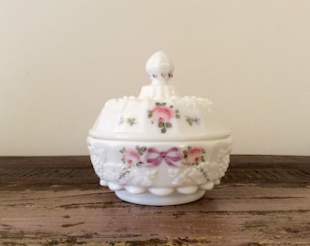 Vintage 1950s-1970s Westmoreland Milk Glass Paneled Grape Hand-Painted Roses and Bows Puff Box or Covered Jelly