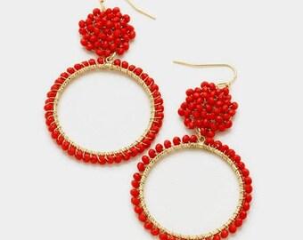 seed bead hoop earrings, beaded hoop earrings, beaded hoops, seed bead earrings, hoop earrings, gold hoop beaded earrings