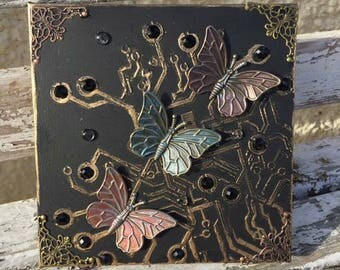 Butterfly Circuit mixed media canvas