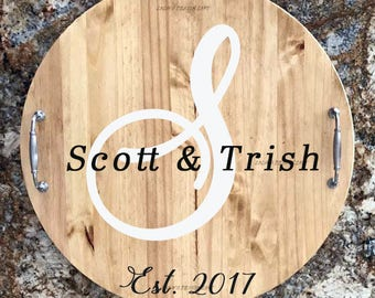 Serving Trays - Personalized Serving Tray - Lazy Susan - Wood Tray - Wood Serving Tray with Handles  - Wood Lazy Susan - Wedding Gift