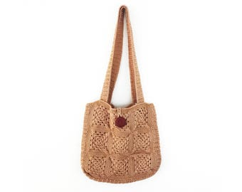 70s Crochet Macrame shoulder bag purse boho tan brown button lined